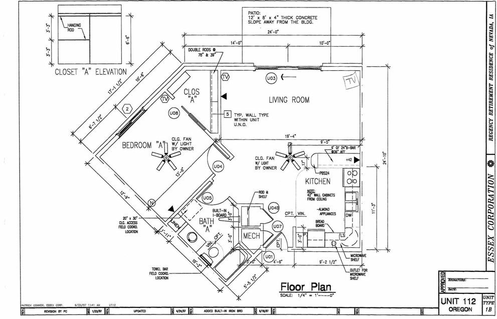 Unit 112 Floor Plan - 1 Bedroom with Attached Patio
